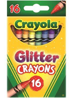 Кольорові воскові крейди з блискітками Glitter Crayons (16 шт), Crayola [52-3716]