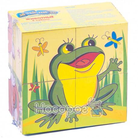 Кубики 2352 затейники-животные, в кульке (4 кубика) (384)