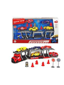 3745012 Игровой набор с автотранспортером, 5 металлическими машинками и аксессуарами., 3