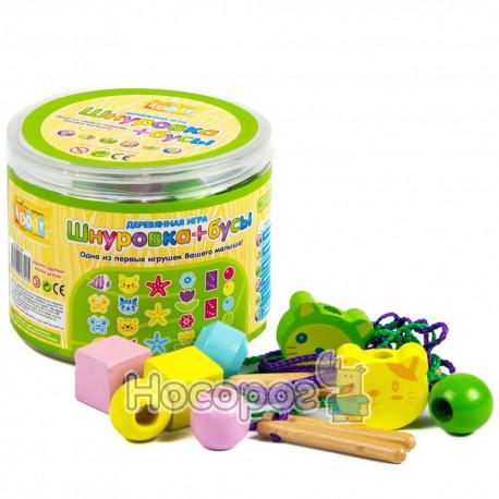 Деревянная игрушка Шнуровка-бусы MD 0136 (в банке, 3 вида) (18)