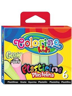 Пластилин 6 цветов светящихся в темноте