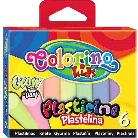 Фото Пластилин 6 цветов светящихся в темноте