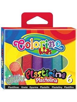 Пластилин с блестками 6 цветов