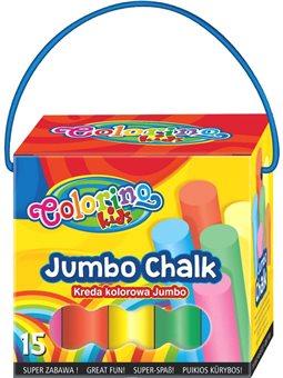 Мелки JUMBO цветные 15 шт.. Картонная коробка с ручкой