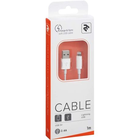 Фото 2E Кабель USB 2.0 to Lightning Cable Molding Type [2E-CCLAB-WT]