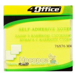 папір.кл., 76х76мм, 80арк, неон, жовт., 4-424-9, 4Office