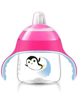 Avent Чашка-непроливайка з м'яким носиком 200 мл 6 + (пингвинчик) [Рожева]