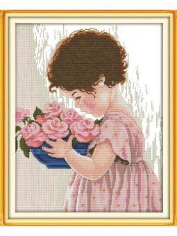 """Вышивка крестиком - """"Девочка с цветами"""" [R509]"""