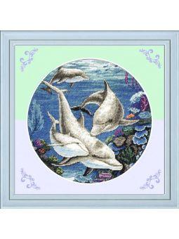 Вышивка крестиком Дельфины [D138]