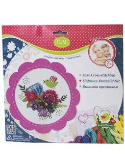 """Набір для вишивання хрестиком """"Квіти і птахи"""" в рожевій рамці [57899]"""
