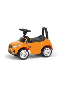 гр Каталка-толокар 2-006 - цвет оранжевый (1) открывается капот, сиденье, светятся фары, муз.руль, в коробке [72267]