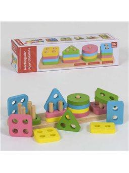 Деревянная логическая пирамидка Геометрия С 39362 (80) в коробке [81644]
