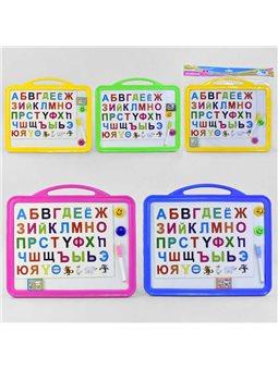 Досточка для рисования магнитная большая С 36511 (72) русский алфавит, маркер, губка, 4 цвета [76244]