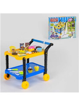 """Игровой набор """"Сладости"""" 36778-90 (24) с сервировочным столиком, продукты на липучках, в коробке [69472]"""