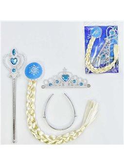 Карнавальный набор для девочек C 31263 (300) 3 предмета: коса, жезл, корона [70108]