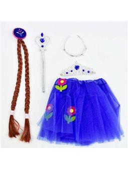 Карнавальный набор для девочки C 31261 (100) 4 предмета: юбка, коса, жезл, корона [70106]