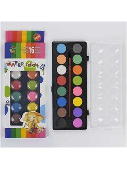 Краски акварельные для рисования С 37142 (144) палитра 16 цветов, кисточка в наборе [77154]