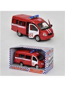 "Машина 9098 A ""Пожарная охрана"" (24/2) откр. двери, звук, свет фар, на батарейках, в коробке [2709]"