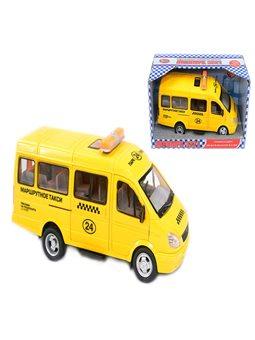 """Машина 9098 E (24/2) """"Маршрутное Такси"""" открываются двери, звук, свет фар, на батарейках, в коробке [2707]"""