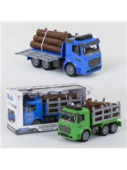 Машина-лесовоз 98-619 А (36/2) инерция, свет, звук, 2 цвета, в коробке [77842]