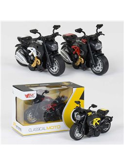 Мотоцикл металлопластик MY 66 - М 1216 (168/2) 3 вида, свет, звук, в коробке [78792]
