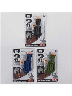 Пистолет HSY 071 (192/2) 3 цвета, свет, звук, 1шт на листе [80309]