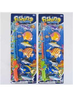 Рыбалка магнитная 2143 В (120/2) 2 вида, 7 рыбок, на листе, [5612]