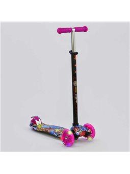 """Самокат А 24651 /779-1395 MAXI """"Best Scooter"""" (1) пластмассовый, 4 колеса PU, СВЕТ, трубка руля алюминиевая, d12см, в коробке [7"""