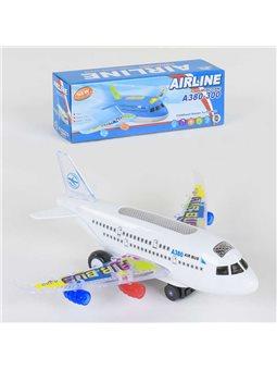 Самолет А 380-300 (144/2) ездит, свет, звук, на батарейке, в коробке [79796]