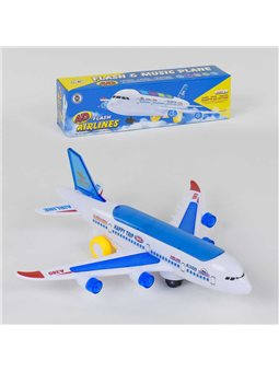Самолёт А 380-600 (120/2) ездит, световые и звуковые эффекты, на батарейке, в коробке [78899]