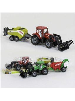 Трактор с прицепом 0488-404 /0488-405 (36/2)инерция, 2 вида, в слюде [81896]