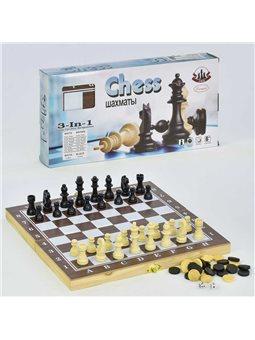 "Шахматы ""3 в1"" F 22015 (60) деревянная доска, в коробке [70206]"