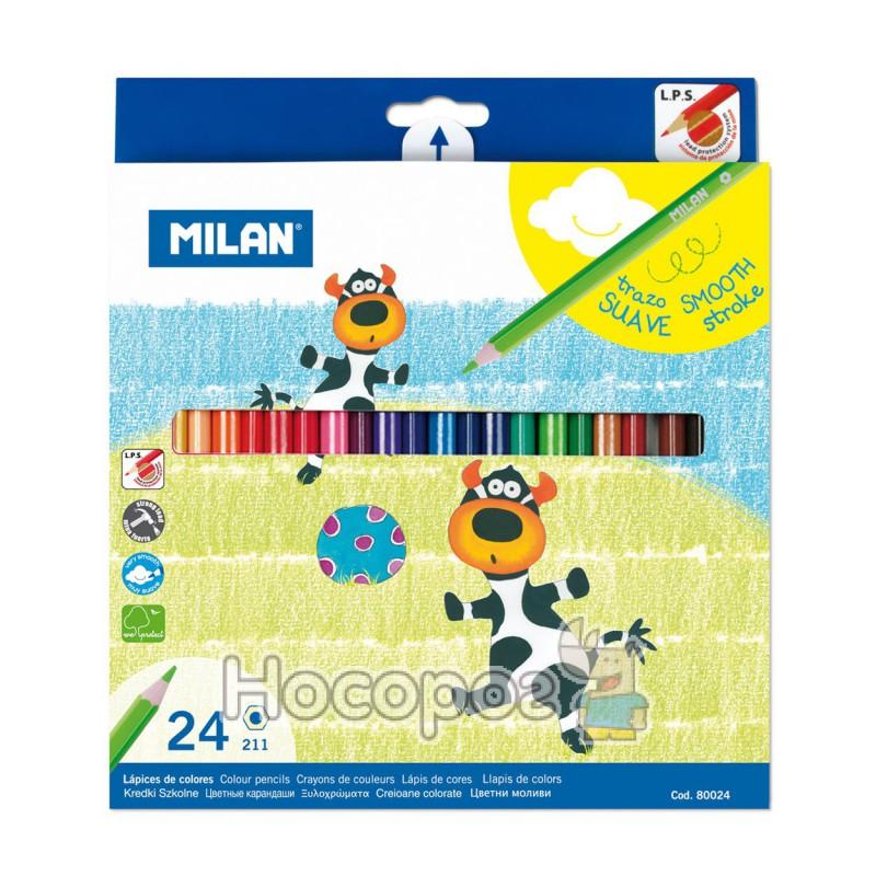Фото Карандаши цветные MILAN 24 цвета