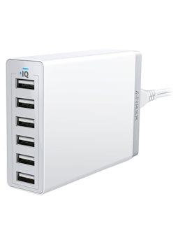 мережева зарядка ANKER PowerPort 6 - 60W 6-port USB Power IQ V3 (Білий)