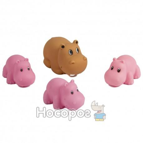Резиновая игрушка 136 А4 (бегемотики, 4 шт, пикают) (308)
