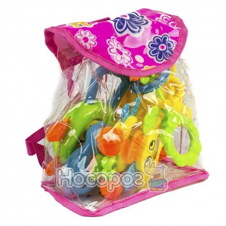 Погремушка 1368 С 1-2 (6 игрушек в сумочке, 2 вида, 16 * 15 * 9 см) (120)