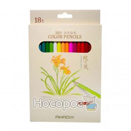 Карандаши цветные AIHAO 9015-18