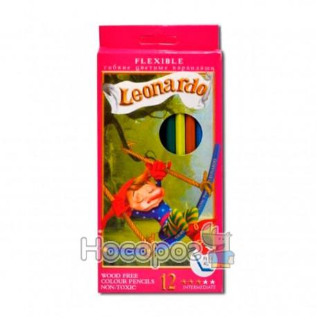 Карандаши цветные гибкие Leonardo 12 цветов
