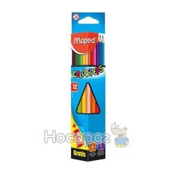 Карандаши цветные Maped Color Peps 12 цветов (+ точилка)