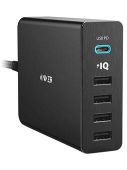 Сетевое зарядное устройство Anker PowerPort+60W 4хUSB PowerIQ,1хUSB-C Black