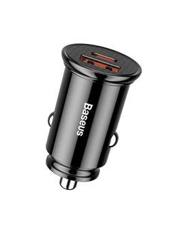 Автомобільний ЗП Baseus Circular Plastic USB, Type-C PD3.0, QC4.0, black [CCALL-YS01]