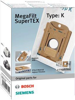 Змінний мішок-пилозбірник Bosch BBZ41FK - MegaAir SuperTEX/4 шт+ мікрофільтр(для BSN1/BSG1, тип К) [