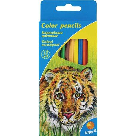 Фото Карандаши двусторонние цветные Kite, 12 шт. / 24 цвета K15-054