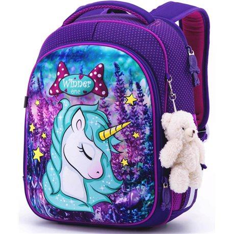 Ранец для школы Winner One 6015 + брелок мишка