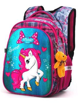 Рюкзак для школы Winner One R1-003 + брелок мишка