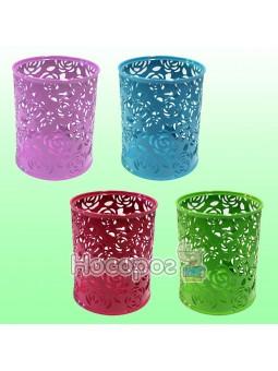 Стакан для ручек 562034 Fashion круглый 4 цвета в ассортименте Цветы HF-2