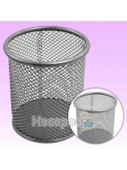 Стакан для ручок 562020 металевий, круглий, срібний Leader