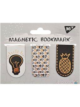 """Закладки магнитные YES """"Golden mark"""", фольга, 3шт [Y-2-M-3]"""