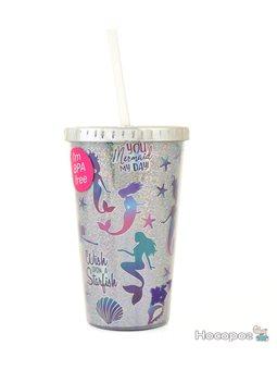 "Тамблер-стакан YES ""Mermaid"", 480мл, фольга, с трубочкой [YT-2-480-shine]"