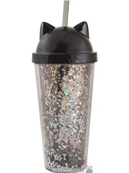 "Тамблер-стакан YES с блестками ""Black Cat"", 450мл, с трубочкой [YT-1-450-shine]"